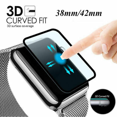 2 Packs 3D Full Cover Tempered Glass Screen Protector For Apple Watch 38mm 42mm