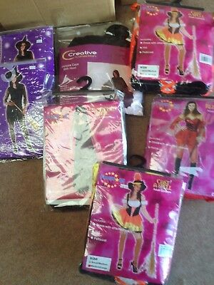 Job Lot 7 Ladies Halloween Fancy Dress Costumes Cast Spell Witches  £100+