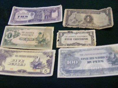 Lot of 5 Japanese Occupation Money,old insect damage,plus 3 Temple Money(G)