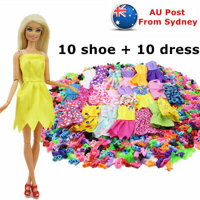 10× Daily Wear Mini Dress Skirt Lady Clothe + 10× Heel Shoes for Barbie Doll Toy