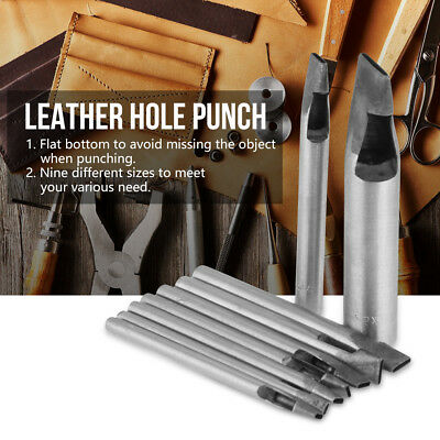2mm 9pcs Leather craft Oval Shape Steel Hole Punch Hollow Kit DIY Tool Silver