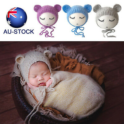 AU-STOCK Newborn Photography Props Baby Kids Knitted Outfits Crochet Hat Beanie