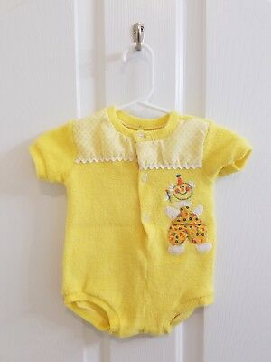 Vintage Baby Girl Yellow Terry Cloth Clown Embroidered Bodysuit Size 6 Months