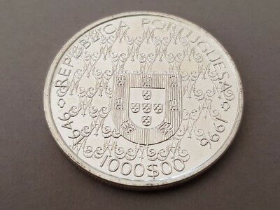 1996 PORTUGAL1000 Escudos LARGE Vintage Silver European Excellent Coin 2