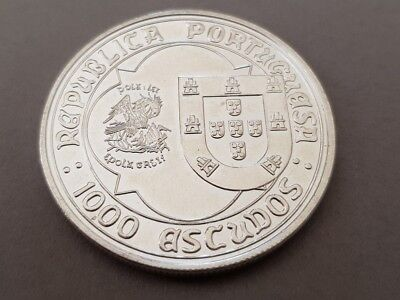 1995 PORTUGAL1000 Escudos LARGE Vintage Silver European Excellent Coin