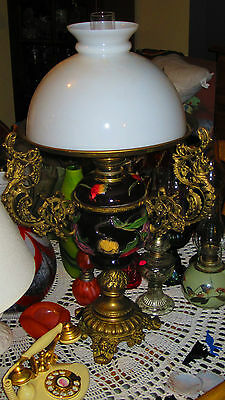 Antique Oil Lamp, Genuine, Porcelain And Solid Brass (Rare)