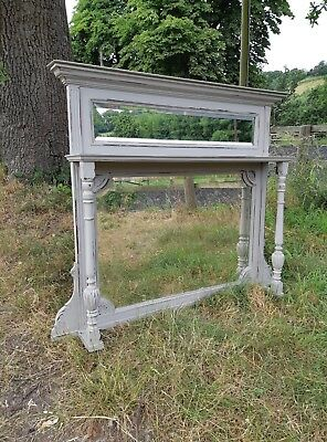 Large Painted Edwardian Overmantle Mirror - Bevelled Glass -