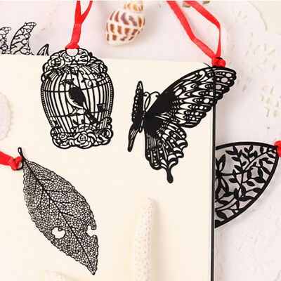 1X Bookmark Hollow Metal Rose Feather Butterfly Shaped Paper Reading Black New