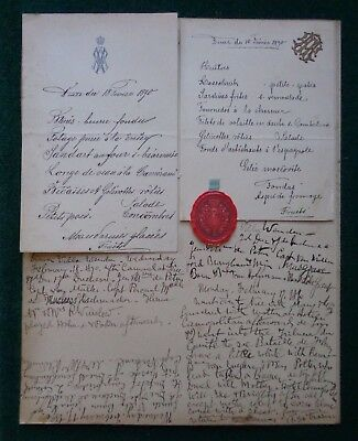 Antique Menus Villa Wenden Grand Duchess Anastasia Romanov Russia Mecklenburg