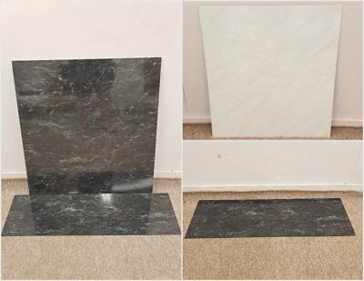 Black White Marble Effect Laminate Gas Electric Fireplace Back Panel and Hearth