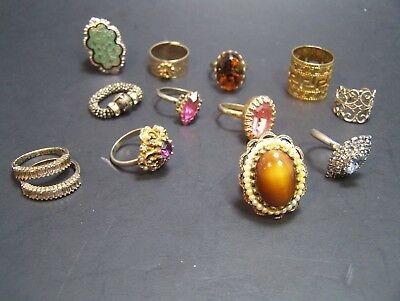 Lot 13 Vintage Adjustable Cocktail Rings Pink Purple Amber silver gold toned