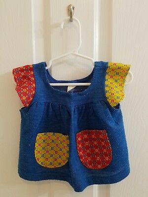 Vintage CARTER'S Baby Girl Blue Red Yellow Sweater Top shirt Size 12 Months