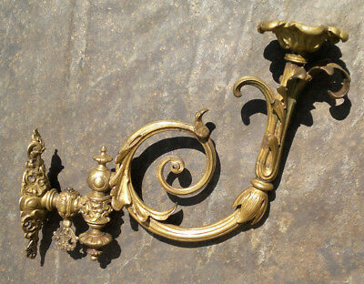 "Antique Ormolu Gilt Bronze Rococo Revival Gas Wall Bracket Sconce Burner - 13"" L"