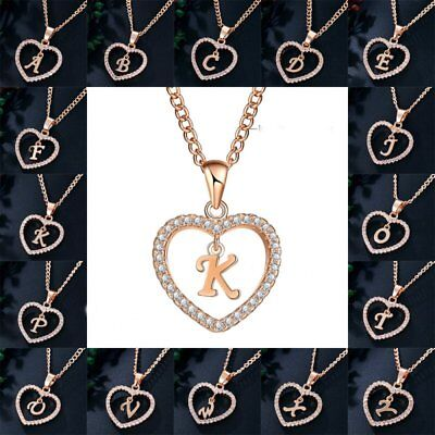 Fashion Gold Tone Initial Alphabet Letter A-Z Love Heart Pendant Chain Necklace