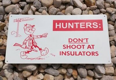 Reddy Kilowatt HUNTERS DON'T SHOOT! Advertising Garage Retro Metal Sign 6x12 S56