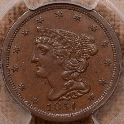 1851 Half cent, PCGS AU58, very choice surfaces and color    DavidKahnRareCoins