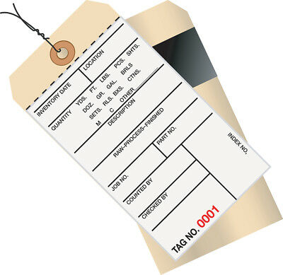"""Box Partners Inventory Tags 2 Part Carbon Style #8 Pre-Wired (2000-2499) 6 1/4"""""""