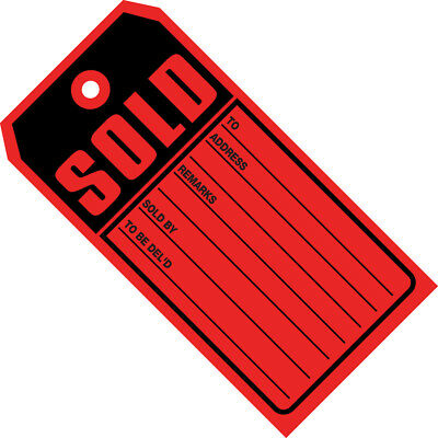 """Box Partners """"Sold Tags"""" 10 Point Card Stock 4 3/4"""" x 2 3/8"""" Red/Black 1000/Case"""