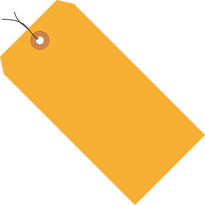 """Box Partners Shipping Tags Pre-Wired 13 Pt. 3 3/4"""" x 1 7/8"""" Fluorescent Orange"""
