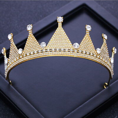5.5cm High Gold Clear Crystal Wedding Bridal Party Pageant Prom Tiara Crown