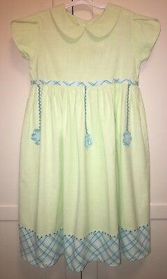 98cb8829c Two Turtle Doves By Sweet Potatoes Girls Light Pastel Green Check Dress  Size 8