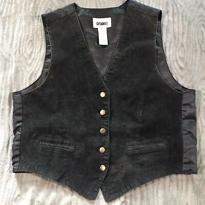 Vtg 90s Gitano Womens L Leather Vest Snap Front Black Costume Steampunk Cosplay