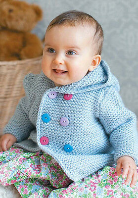 Easy Garter Stitch Baby Aran Hooded Double Breasted Sweater 6 -24mths