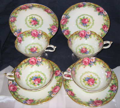 Beautiful Paragon   - Tapestry Rose Teacup Sets (3)