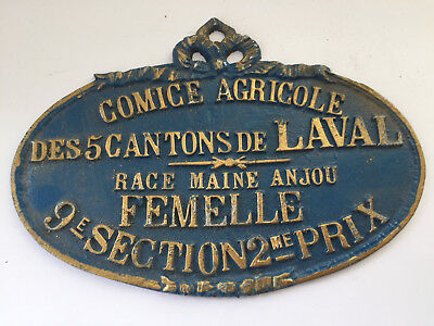 VINTAGE FRENCH BLUE CAST IRON AWARD PLAQUE for Maine Anjou Female Cattle/Cow