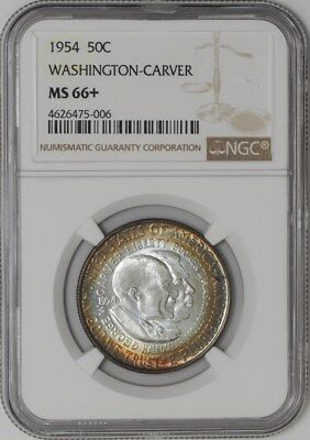 1954 Washington Carver 50c #938670-7 Color MS66+ NGC