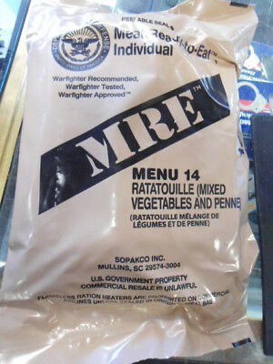 US Govt. MRE Ratatouille (Mixed Vegetables and Penne) FREE SHIPPING
