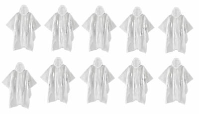 "Lot of 10 Emergency Rain Poncho's 50"" x 40"" Hooded Inclement Weather Coat Jacket"