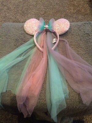 Disney Parks Minnie Mouse Princess Vail Ears Sequin Headband Butterfly sequin