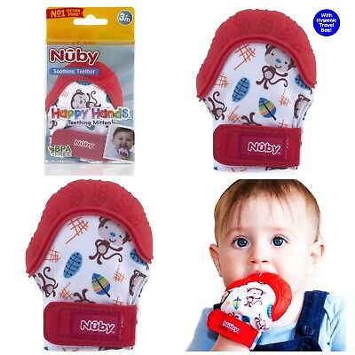 Nuby RED Soothing Teething Mitten w/Hygienic Travel Bag Baby Infant Child Relief