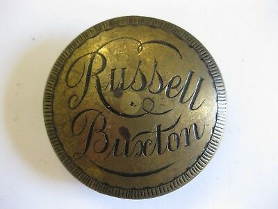 Antique Clock Name Plate Russell Buxton.