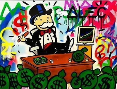Alec Monopoly oil Painting on Canvas graffiti art wall decor Stocks 28x36""