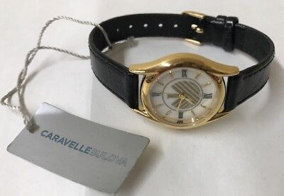 NWT Caravelle by Bulova Women's Gold Tone Stainless Black Leather Watch 48E69