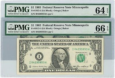 Fr. 1913I $1 1985 2 Consecutive Federal Reserve Notes #104295853-4 64-66 EPQ PMG