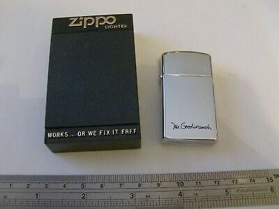 Zippo Lighter - Chrome Slim Mr Goodwrench Promotional from 1988 - Brand New