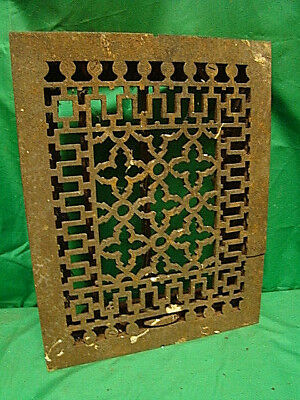 ANTIQUE LATE 1800'S CAST IRON HEATING GRATE UNIQUE ORNATE DESIGN 13.75 X 10.75 x