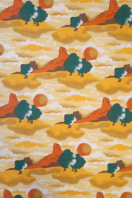 Vintage 70s Double Sheet Set Southwestern Landscape Mesa Sunset Print