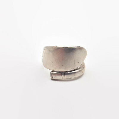 Vintage Community Plate Silver Tone Spoon Wrap Ring Size 9.5