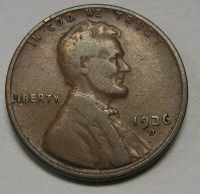 1936-D Lincoln Wheat Cent in the VG to FINE Range         DUTCH AUCTION