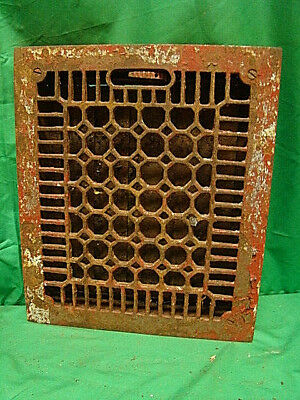 ANTIQUE LATE 1800'S CAST IRON HEATING GRATE HONEYCOMB DESIGN 13.75 X 11.75 h