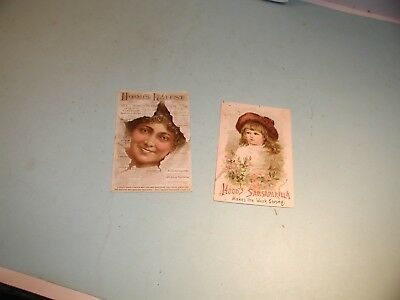 """2 Late 1800's """" Hood's """"  Used  Trade Cards"""