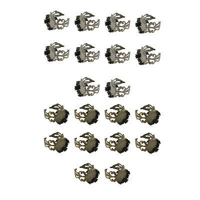 10 Pcs Adjustable Filigree Ring Base 15 mm for Women DIY Jewelry Accessories