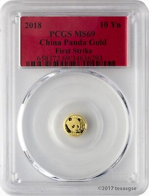 2018 10 Yuan China Gold Panda 1 Gram .999 Gold Coin PCGS MS69 First Strike