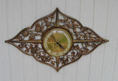 Vintage Syroco Wall Clock 8 Day German (0) Jeweled Large 30 x 20 w/key Stunning