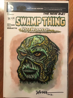 Swamp Thing DC comics original 1/1 sketch cover signed by artist.