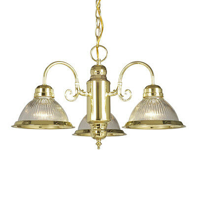 NIB Nice Galaxy-Lighting 831904PB 3-Lite Polished-Brass Finish CHANDELIER Light